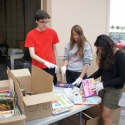 All hands on deck to sort donated books