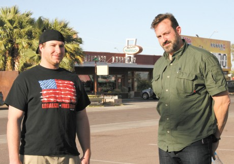 Phoenix residents Job Ladd, left, and Ted Lewis, who owns Lewis Interiors in the Melrose District, thwarted an armed robbery at Melrose Pharmacy on March 25. The men disarmed the suspect and kept their guns pointed at him until police arrived on the scene (photo by Patty Talahongva).