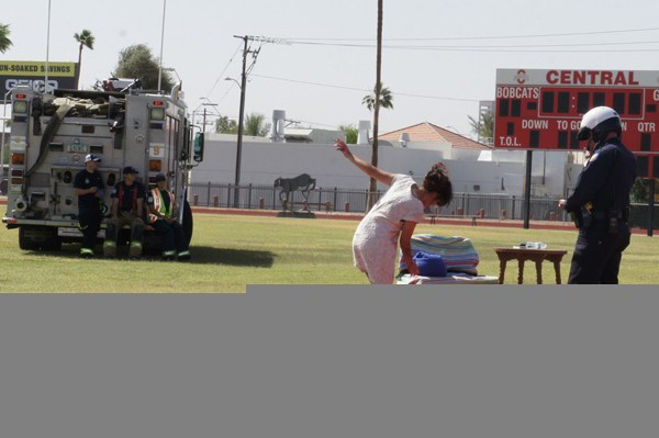 Central High drama student Itzel Velasco is given a field sobriety test by a Phoenix police officer during a Mock DUI event.