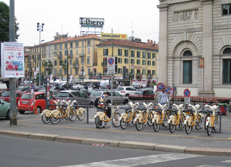 Milan, Italy is just one of the European cities where an automated bike rental system has been in place for many years, serving residents and tourists alike. This increasingly popular trend in public transportation is making its way to Phoenix by the end of 2013 (photo by Teri Carnicelli).