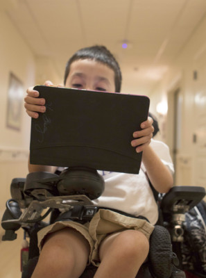 Using a tablet purchased through a $100,000 grant from the Humana Foundation, a child receiving care at Ryan House can capture and document the stories of their lives, something that will last a lifetime for the families who care for them (submitted photo).