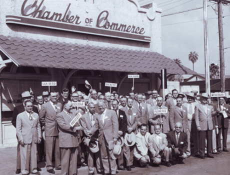 A photo from the early 1950s shows members of the Phoenix Chamber of Commerce who represent all communities in the Valley (photo courtesy of the Phoenix Chamber of Commerce).