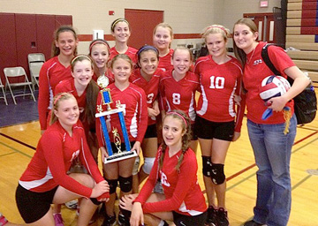 The Madison Traditional Academy championship girls volleyball team includes, from left: bottom row, Zoe Traynor and Maggie Williams; middle row, Jessica Schneider, Katie McCarthy, Mayalin Probst, Katie Lindvig, Sloane Wheeler, and Coach Danielle Hartman; top row, Gabriella Gamboa, Alexis Fusselman, Sylvie Harris and Olivia Simpson. Not pictured: Elma Huseinovic (submitted photo).