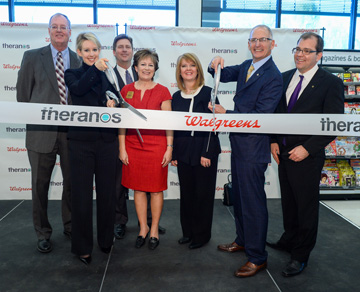 Celebrating the ribbon cutting of one of Phoenix's two new Theranos Wellness Centers are, from left: Don Hughes, policy advisor for Health Care and executive director for the Arizona Health Insurance Exchange, Office of Gov. Janice K. Brewer; Elizabeth Holmes, founder and CEO, Theranos; Phoenix Mayor Greg Stanton; Sen. Nancy Barto, R-Phoenix; Rep. Heather Carter, R-Cave Creek; Greg Wasson, president and CEO, Walgreens; and Wade Miquelon, executive vice president, Walgreens (submitted photo).