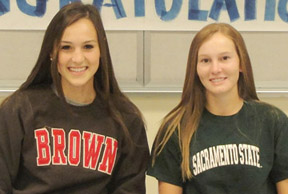 Megan Hauptman, left, and Katie Dunaway, Xavier College Prep seniors and golfers, recently signed their letters of intent (submitted photo).
