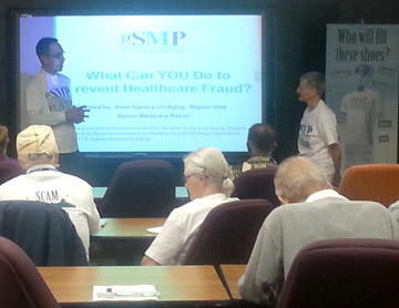 Area Agency on Aging Benefits Assistance Program Director Glen Spencer and SMP volunteer Bobbie Garland giving an SMP presentation at the Phoenix Area Agency on Aging (submitted photo).