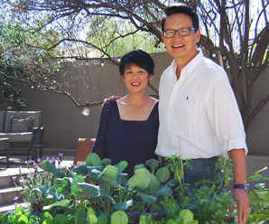 North Central resident Bob Yen was inspired to create the TableGarden raised planter bed after watching his wife, Li, suffer from back pain from stooping, bending and kneeling in their home's ground-level garden (submitted photo).