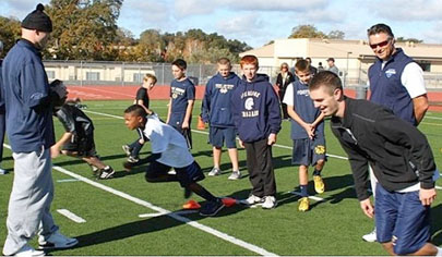 Young athletes participate in  a receiver skills training camp put on by Receiver Tech (submitted photo).
