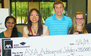 Celebrating being named national winners of the 2014 AXA Achievement Scholarships are, from left: Miruthula Jegadesan of Corona del Sol High School in Tempe; Cindy Le of Hamilton High School in Chandler; Max Ashton of Brophy College Preparatory; and Whitney Smith of Notre Dame Preparatory High School in Scottsdale, along with Philip Kim and Dillan Micus of AXA Advisors Southwest (submitted photo).