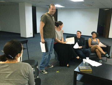 Rehearsing for not one, but two upcoming summer productions are Actors Theatre cast members, from left: Angelica Howard, Joe Kremer, Maren Maclean Mascarelli, Tyler Eglen and Alexis Green (photo courtesy of Actors Theatre).