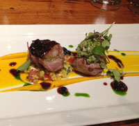 Lamb medallions with butternut squash puree.