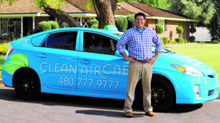 Steve Lopez, who grew up around automobiles, launched his Clean Air Cab company in 2009 with the idea of doing something better for the environment, better for his customers, and better for the community—through an ongoing donation program (submitted photo).
