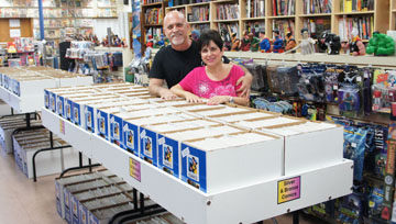 Alan and Marsha Giroux, owners of All About Books and Comics, have lost their lease and are seeking the community's help to raise funds to move their massive inventory to their new space just around the corner (photo by Teri Carnicelli).