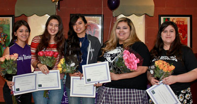 Five Girls Leadership Academy of Arizona students were surprised with $1,000 and $5,000 scholarships at a recent school assembly. They are, from left: Bianca Garcia, Ginelly Powell, Christy Sok, Ana-Leeza Reyes, and Adrianna Galvan (submitted photo).