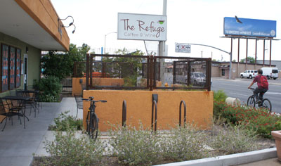 With the increasing popularity of bicyclists traveling along the Melrose Mile, the Community Alliance of Seventh Avenue (CASA) is offering businesses in that stretch along 7th Avenue between Indian School and Camelback roads free bike racks at their locations, such as this four-loop rack installed a The Refuge café just south of Camelback Road (photo by Teri Carnicelli).