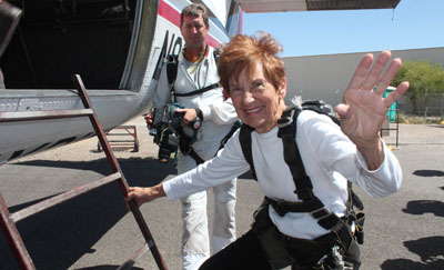 Sara-Lu Kolkoski, a long time North Central resident, celebrated her 80th birthday with her very first tandem skydive in Eloy, Ariz. (submitted photo).