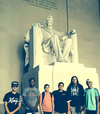 Visiting the Lincoln Memorial in Washington, D.C., are Valley students, from left: Josiah Lester, LaVonte Ellis, Michael Rocha III, Warren Johnson, Klain Benally and DeAndre Maxwell (submitted photo)