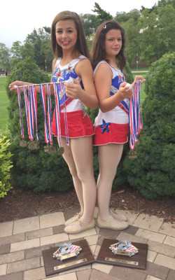Bringing home medals and plaques from this year's World Open Baton Twirling Championships are North Central residents (left) Alaina Hewitt, 11 and Madysin Hewitt, 8. They each won nine medals a piece. The girls are coached by their grandmother, Becky Hewitt, founder of Arizona Twirling Athletes (submitted photo).