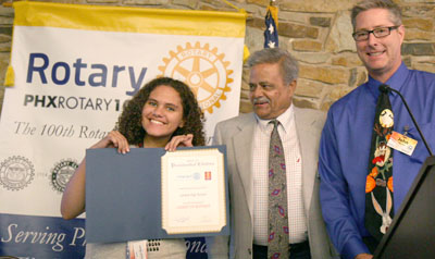 Accepting the Presidential Citation from Rotary International are, from left: Central High School's Interact Club President, Taylor Croswell, Phoenix Rotary 100 President Tony Kakar, and Phoenix Rotary 100's Central High School Interact Mentor, John Gerace (submitted photo).