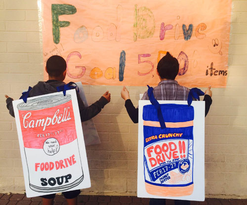 During last year's WESD food drive, Roadrunner School did an incredible job, collecting almost 6 pounds per student. They spread the word be wearing signs at the pick-up and drop-off areas (submitted photo).