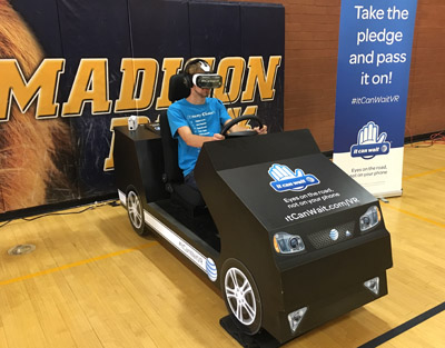 Simon Bowen, a freshman at Madison Highland Prep, test-drives AT&T's virtual reality simulator (submitted photo).