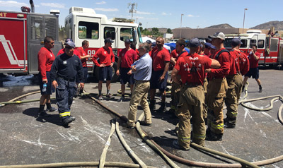 Watt Communities of Arizona, before it razed an office building that will make way for new upscale apartments, allowed the Phoenix Fire Department conduct real-time training for approximately 120 recruits and 50 active firefighters (submitted photo).