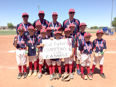 Players and coaches of the Recreation Association of Madison Meadows-Simis (RAMMS) 8 and Under celebrate their win at the Cal Ripken 8U State Championship game on June 12 (submitted photo).