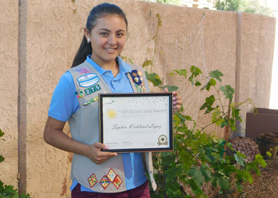 North Central youth Sophia Kirkland-Lopez recently was honored for a project she initiated to turn a dilapidated wall at her church into a raised garden, which could be used to teach children about vegetation and sustainability (submitted photo).
