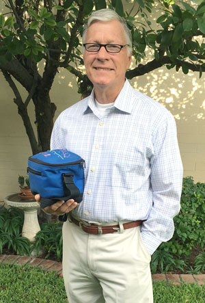 Terry Stines, who recently turned 70, has his lunch bag in hand as he prepares for his first day of school at the Maricopa Skills Center (submitted photo).