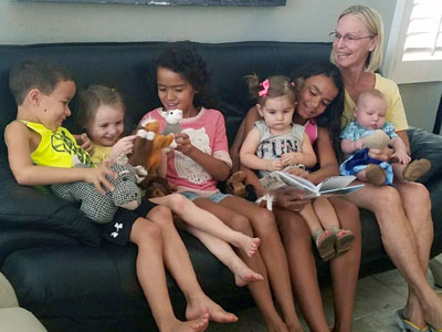 Life is good when you have a houseful of grandchildren like these to play with, says Susan Lynch, who survived major surgery at HonorHealth John C. Lincoln Medical Center in Phoenix, in order to retain the blessing. From left are Dre McBeth, Kinsley Geib, Jayda McBeth, Addison Anderson on Mishayla McBeth's lap and Cannon Lynch on Susan Lynch's lap (photo courtesy of Kyle Anderson).