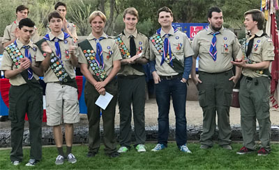 Some of Boy Scout Troop 41's most recent Eagle Scout recipients are, from left: Caelin Cox-Gonzalez, Sam Riess, Spencer Sandvig, Jaxson Haggard (awarded in 2014), Tatum Quinley, R. Alec Arthur and Jett Haggard (awarded in 2015).