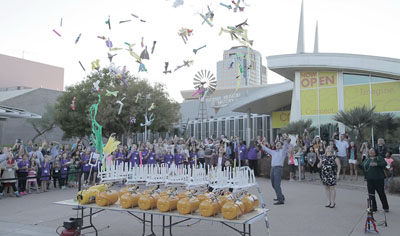 More than 150 fourth- through eighth-grade girls recently participated in the Arizona Science Center's 4th annual Girls in STEM event, which concluded with a simultaneous rocket launch on the center's front courtyard (submitted photo).