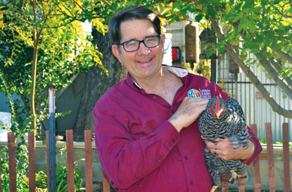 Greg Peterson, founder and owner of The Urban Farm, holds one of the hens he raises on his property in North Central (photo by Colleen Sparks).