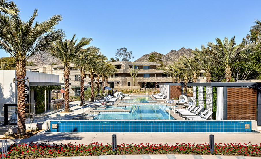 Arizona Biltmore guests can cool off in the new adults-only Saguaro Pool, which was created as part of a recent $70 million, 15-month renovation. New outdoor amenities also include a 65-foot triple water slide (photo courtesy of the Arizona Biltmore).