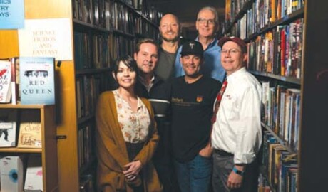 """Falling Flame Pictures, a local movie production company, recently released its film, """"SCARE US,"""" which was filmed in Books bookstore on north Seventh Avenue. Pictured here are the members of Falling Flame Pictures' executive team: (Back row, from left): Rob Ellman, legal advisor and creative consultant and Ed Riccio, executive vice-president; (middle row, from left): Jeff Hare, chief marketing officer, Jason Wiechert, CEO and co-founder and Shaun Clark, chief financial officer; and in the front is Charlotte Lilt, chief creative officer and co-founder (submitted photo)."""