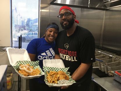Chiquila and Lamont Turner are keeping their Flavorz Fish & Chicken restaurant going while looking for a new location, serving up customer favorites including fried fish, chicken wings and tenders, as well as shrimp and fries (photo by Marjorie Rice).
