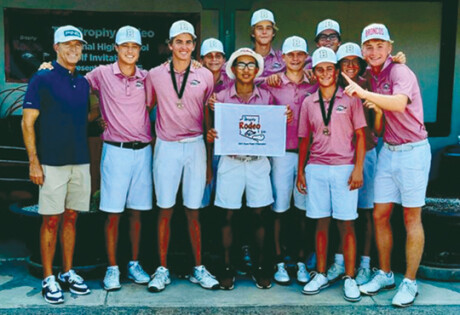 The Brophy College Preparatory golf team, pictured here with Ping executive Scott Sullivan (left), won both the Brophy Invitational at Grayhawk Golf Club and the Brophy Rodeo Invitational presented by Ping at the Wigwam Resort and Golf Club (photo by Karie Dozer).