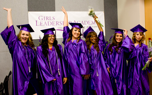 Celebrating their success are members of the inaugural graduating class from the Girls Leadership Academy of Arizona, including, from left: Marli Mayon, Maria Magaña, Alexandra Petersen, Ambrosia Mitchell, Adilene Quintero and Yocelyne Garcia Diaz (photo courtesy of GLAAZ).