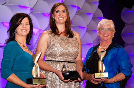 Public Sector recipient Kimber Lanning, Young Professional recipient Christy Moore and Private Sector recipient Kathy Kolbe were this year's Greater Phoenix Chamber of Commerce 2013 Athena Award winners (photo courtesy of the Phoenix Chamber).