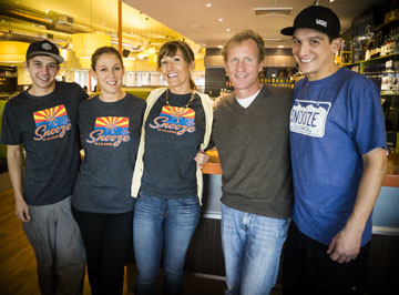 The smiling faces you will see at the new Snooze breakfast joint at the Town and Country shopping center are, from left: Bryce Norblom, trainer; Kokee Coscina, Snooze Town and Country assistant general manager; Echo Reiken, general manager; David Birzon, CEO of Snooze; and Chris Garzaran, Snooze chef (photo by Tatiana Rene Photography).