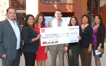 From left: Joe Keeper, director of Real Estate Development, Native American Connections (NAC); Fonda Walters, NAC board member; Roxann Gallagher, NAC board chair; Michael Riley, Wells Fargo Metro West area president; Diana Yazzie Devine, NAC CEO and president; Jackie Saavedra, Wells Fargo compliance consultant; and Tab Parr, Wells Fargo mortgage consultant (submitted photo).