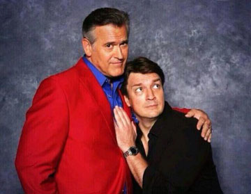 Movie and television actors Bruce Campbell, left, and Nathan Fillion are two of the headliners at this year's Phoenix Comicon, set for June 5-8 in downtown Phoenix (photo courtesy of Bruce Campbell).