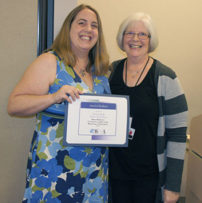 Teri Carnicelli, left, editor of the North Central News, was honored last month with an Award of Excellence from the Arizona School Public Relations Association (ASPRA). She was nominated for the award by Carol Donaldson, right, director of Communications Services for the Washington Elementary School District (submitted photo).