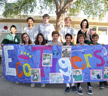 All Saints' Episcopal Day School Eco Tigers, who earned $25,000 in scholarships and grants for their environmental projects, are, from left: standing, Eric Lin, John Paul Rabusa, Aidan Rowland, Jackson Culver-Witt, and faculty advisor Alexis Marsden; sitting, Emily Placet, Josie Milisci, Michael Manley, Andrew Scott, Turner Stansbury, and Eric Nichols (submitted photo).
