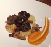 Braised short ribs with risotto.