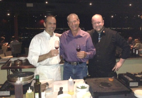 """Executive Chef Anthony DeMuro, left, of the Pointe Hilton Tapatio Cliffs' Different Pointe of View 5-star restaurant, is joined by Doug Filipponi, co-owner of Ancient Peaks Winery in  Paso Robles, Calif., and server Ian Cahill during the """"Insider's View Dinner"""" held on Sept. 25 (photo by Teri Carnicelli)."""