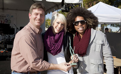 """Phoenix Mayor Greg Stanton, left, congratulates the winners of the 2013 Mayor's Arts Award for Dance Organization, which went to Epik Dance Company. Accepting the award are Sarah """"Saza"""" Dimmick, founder/co-artistic director, and Luis """"Weezy"""" Egurrola (photo by Brenda Eden)."""