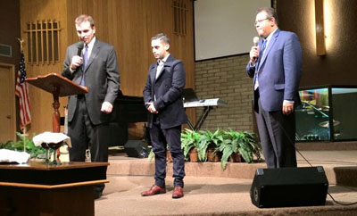North Central resident Agustin Hubert, center, was installed as lead pastor of the RCA (Reformed Church of America) Longview Community Church on Jan. 11. The presiding officer, representing the RCA denomination, was the Rev. Dr. James Poit, left, president of the Southwest RCA Classis. Translation for the bilingual service was provided by the Rev. Edward Aleman, right (submitted photo).