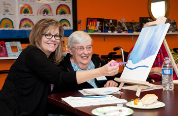 "Mary Segall, left, and her mother Joan Ketterer enjoy the inaugural ""Caregiving On Canvas"" free art event at SunTree Adult Day for Seniors, held in December. The center is hosting a second event on April 2 (submitted photo)."