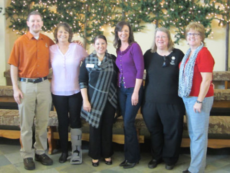 Six Beatitudes Campus staff members are Diakonal Ministers. Pictured left to right are: Tim King, network administrator; Peggy Mullan, president emeritus; Tara Bethell, vice president of Human Resources and Risk Management; Michelle Just, president and CEO; Karen Mitchell, director of Nursing; and Cammy Clevenger, controller (submitted photo).